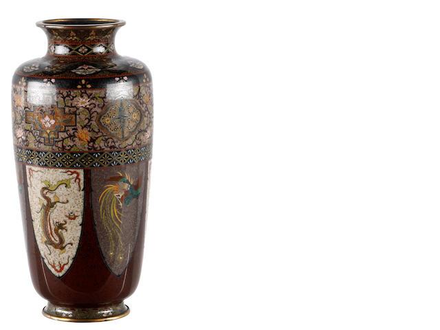 A Japanese cloisonné vase, Meiji period