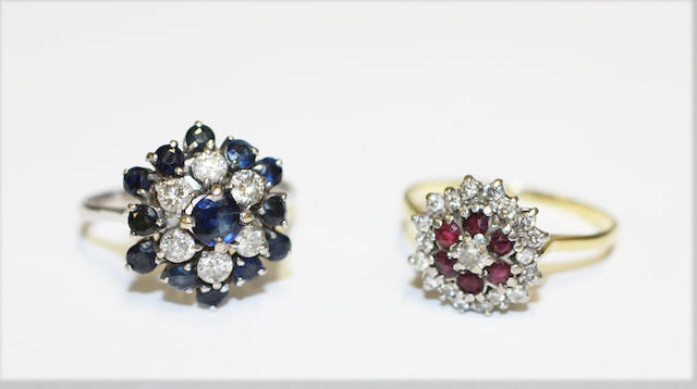 A sapphire and diamond cluster ring, and a ruby and diamond cluster ring, (2)
