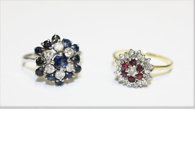 A sapphire & diamond cluster ring, together with a ruby & diamond cluster ring (2)