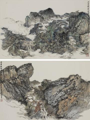 Hong Bo (b.1966) Two Landscape Paintings