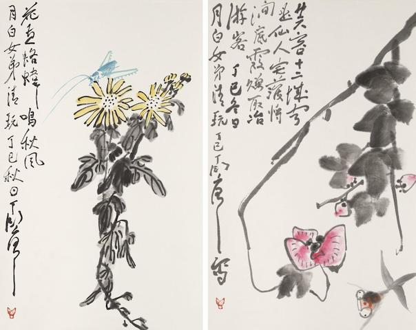 Ding Yanyong (1902-1978)  A Pair of Paintings