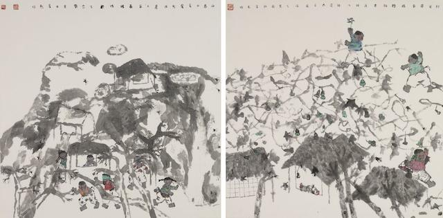 Nie Ou (b.1948) Two Paintings: 'Fragrance of the Fields' and 'Farmer's Family'
