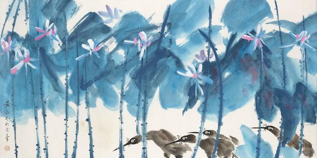 Huang Yongyu (b.1924)  Herons in Lotus Pond