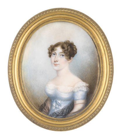 N.  Freese (British, active 1794-1814) A Lady, wearing pale blue dress with white lace underslip and sleeve trim, a black lace shawl about her arms, her brown hair curled and upswept