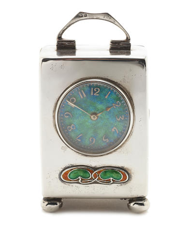 Liberty & Co A 'Cymric' Silver and Enamel Carriage Clock, 1904