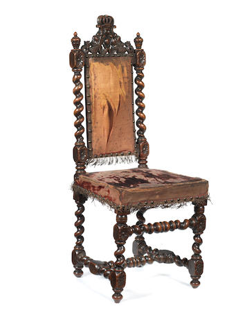 An 18th century Anglo-Flemish walnut 'dolls' chair'  retaining it's original upholstery