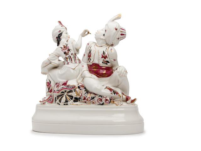 A Schwarzburger Wekstätten für Porzellankunst Arabian figure group  Circa 1910-20