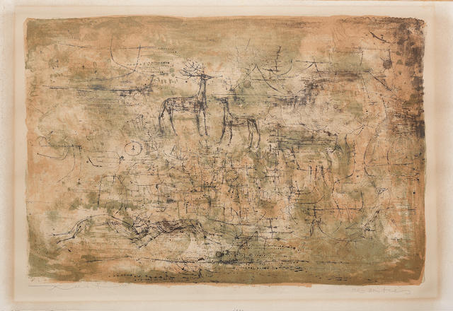 Zao Wou-Ki (Chinese/French, born 1921) Les Cerfs (Riviere 78) Lithograph printed in colours, 1952, on Arches, signed and inscribed 'Mes Amities' in pencil, a proof aside from the edition of 250, printed by J Desjobert, Paris, published La Guilde Internationale de la Gravure, Geneva, with margins, 330 x 484mm (13 x 19in) (I) (unframed)