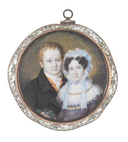 Continental School, circa 1820 A portrait miniature of a Husband and Wife; the former, wearing black coat, burnt orange waistcoat, white chemise, stock and knotted cravat; the latter, wearing violet dress with grey waist-belt and jeweled buckle, double-tiered white lace pelerine with gold embroidered collar, her dark hair curled in ringlets framing her face and upswept beneath a sky blue and white lace mob cap, tied with ribbons beneath her chin, she holds a bouquet of flowers at her right
