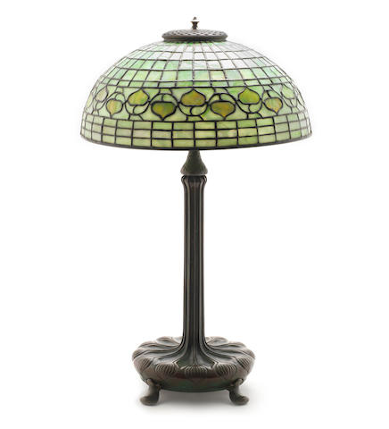 L.C Tiffany Studios A Favrile Glass and Patinated Bronze 'Acorn' Table Lamp, circa 1910