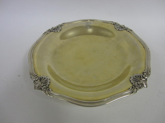 A French silver pedestal dish Minerva's head duty mark,950 standard