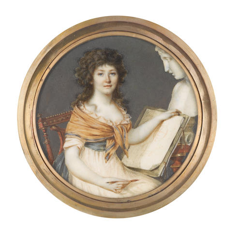 Pierre Chasselat (French, 1753-1814) A Lady, seated, wearing white dress with frilled trim to her décolleté, pale yellow shawl edged with teal draped about her shoulders and tied over her bust, teal redingote, her natural hair worn à la conseilleur, she holds an ink quill in her right hand, her open portfolio propped against a Classical bust of a man