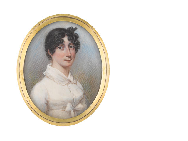 N.  Freese (British, active 1794-1814) A Lady, wearing white buttoned dress with falling collar edged with lace, a white sash tied beneath her bust in a bow, her dark hair upswept and curled in ringlets framing her face, her black bandeau tied in a ribbon bow