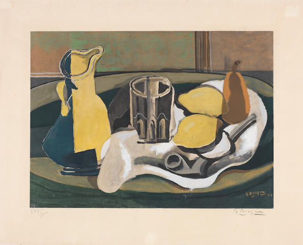 Georges Braque (French, 1882-1963) Still Life with Lemons and Pipe Collotype printed in colours, c.1950, on Arches, signed and numbered 257/300 in pencil, published by Guy Spitzer, Paris, with his blindstamp, 463 x 575mm (18 1/4 x 22 5/8in)(SH) unframed