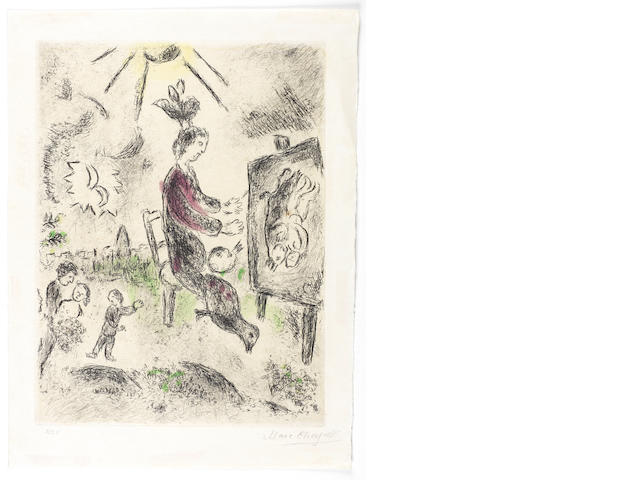 Marc Chagall (Russian/French, 1887-1985) Painter in front of the Easel, from Celui qui dit les choses sans rien dire Etching and aquatint, 1975-1976, on Imperial Japan paper, signed and numbered 2/25 in pencil, published by Editions Maeght, Paris, 400 x 300mm (15 3/4 x 11 3/4in)(PL)