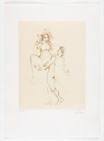 Leonor Fini (Italian, 1907-1996) The Tragedy of Orpheus  The portfolio containing ten etchings in colour, 1982, with title and justification pages and accompanying poems by Rudolf Hagelstange, on Arches, each signed and numbered 22/250 in pencil, the justification signed in pencil by Leonor Fini and Rudolf Hagelstange and numbered in black ink, printed by Daniel Moret, Paris, published by Editions List, Munich, within a brown fabric folio cover, 530 x 375 mm (20 7/8 x 14 3/4in)(SH)(folio)