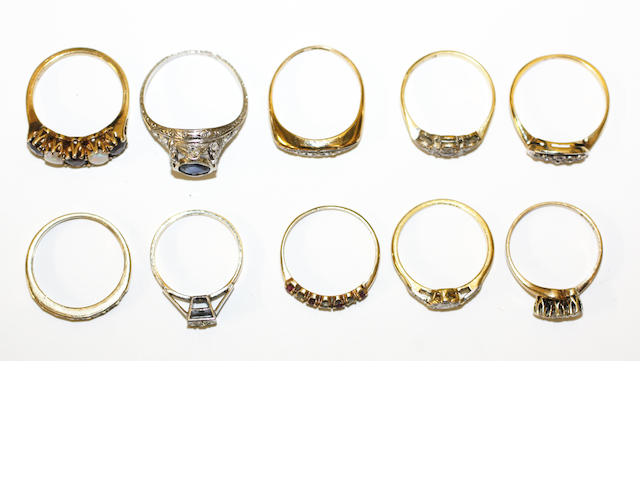 A collection of ten assorted rings