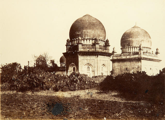 BIJAPUR BIGGS (THOMAS) Mausoleum of Khowas Khan and Huzrut Abdool Ruzzak, albumen print, printed caption, pasted to mount, 230 x 320mm., framed and glazed, [1866]
