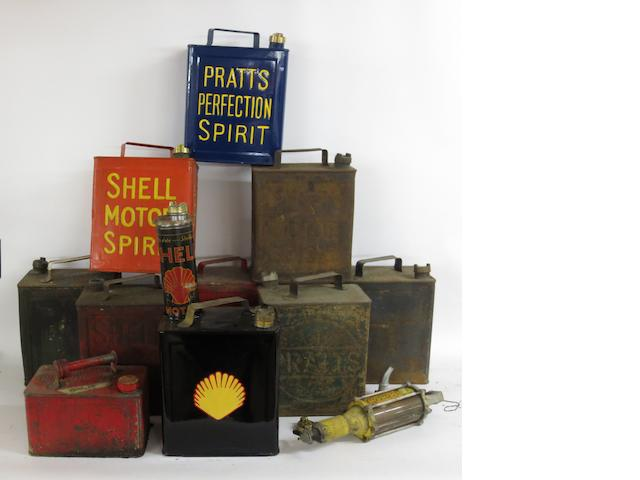 Nine 2 gallon petrol cans,