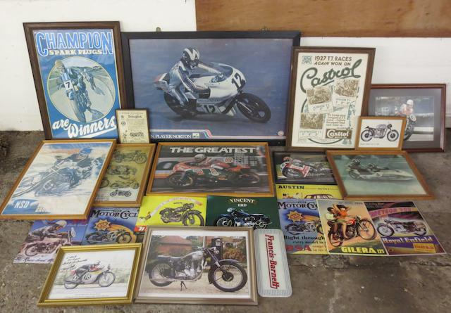 Assorted framed motorcycle related prints,