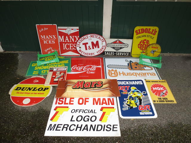Assorted advertising signs,