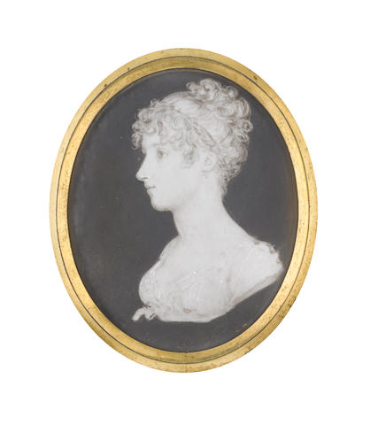 Samuel Andrews (Irish, circa 1767-1807) A bust-length portrait miniature of a Lady, profile to the left, wearing dress with short bouffant sleeves, sash tied beneath her bust with a ribbon bow, her hair curling and upswept