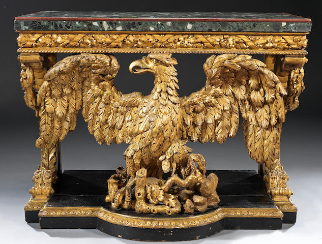 A pair of 19th century carved giltwood console tables in the George II style