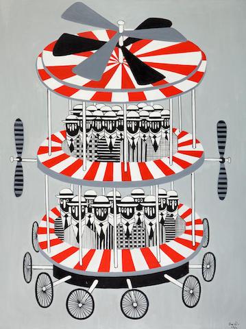 Yannis Gaïtis (Greek, 1923-1984) The flying machine / Ventillateur pour chauves 116 x 89 cm.