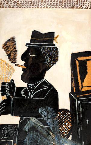 Alecos Fassianos (Greek, born 1935) Le Café Byzantin 131 x 81 cm.