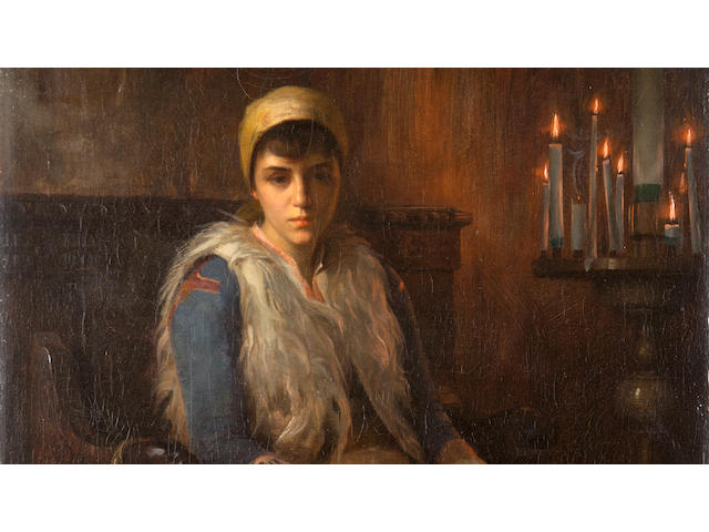 Théodore Jacques Ralli (Greek, 1852-1909) An offertory candle 56 x 38 cm.