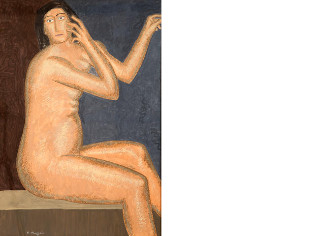 Nikos Nikolaou (Greek, 1909-1986) Female nude 98.5 x 68 cm.