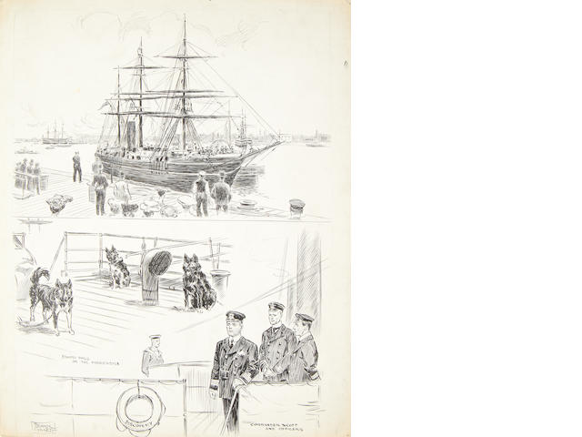 "DISCOVERY GILLETT (EDWARD FRANK) A sketch entitled ""The Return of the Discovery"" showing the ship in dock, Scott and fellow Officers and ""Eskimo dogs on the forecastle"", [1904]"