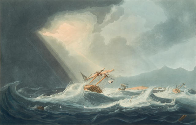 "MAURITIUS HUGGINS (W.J.) ""Hurricane off Port Louis, in the Isle of France"",. 1826"