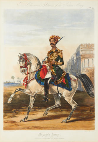 INDIAN ARMY Nizam's Army (3rd Cavalry.). Native Officer in Full Dress, Plate no. 7; Bombay Light Cavalry (Officer), Plate no. 1, 1844-45 (2)