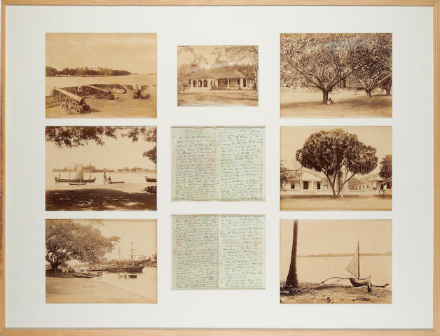 CEYLON Group of 7 views, including Batticaloa fort (2), Batticaloa harbour, the Esplanade, the photographer on the steps of his bungalow, and 2 magnificent trees
