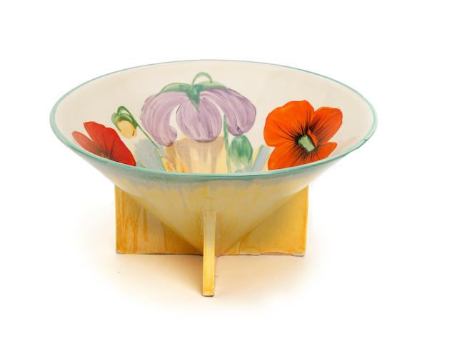 A Clarice Cliff 'Nasturtium' pattern conical bowl  Circa 1932
