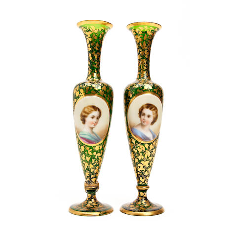 A pair of bohemian green glass portrait vases Circa 1880-1900