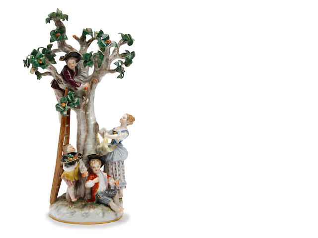 A Meissen figure group of apple pickers Circa 1880-1900