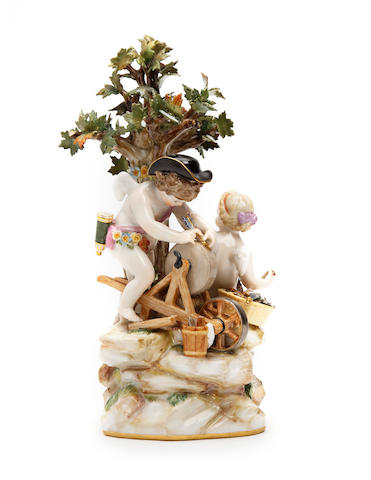 A Meissen putti figure group  Late 19th Century