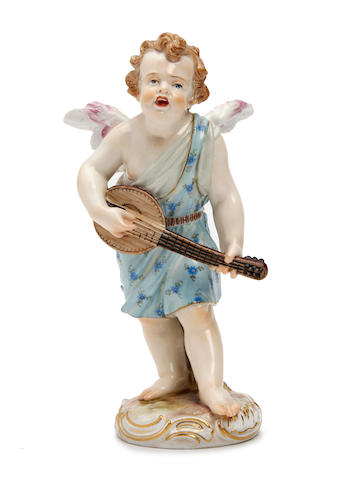 A Meissen figure of a winged putto Late 19th Century/early 20th Century