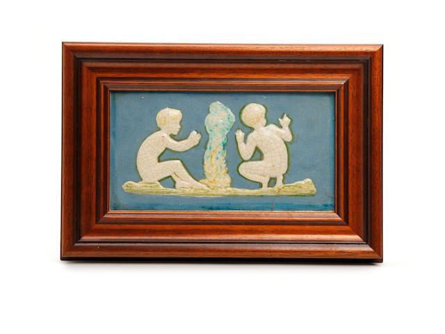 A Della Robbia figural plaque Circa 1900