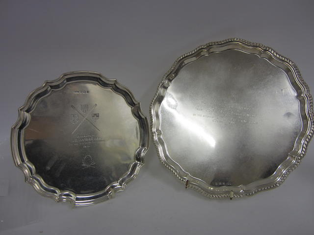 A silver presentation salver Sheffield 1935  (2)