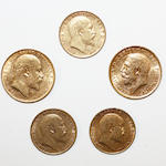 Edward VII: A sovereign, 1904, and three half sovereigns, 1906, 1907 and 1908; George V: a sovereign, 1912.