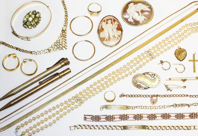 A collection of assorted jewellery and costume jewellery,including an 18ct gold open faced pocket watch, a 9ct gold identity bracelet, a 9ct gold gate-link bracelet, further gold chains, rings and earrings, two cameo brooches, two chain belts, assorted paste items, etc.
