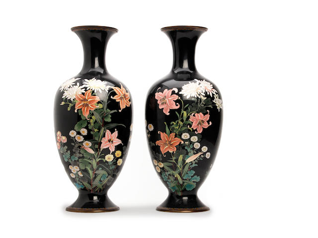 A pair of Japanese cloisonne vases  Late Meiji period