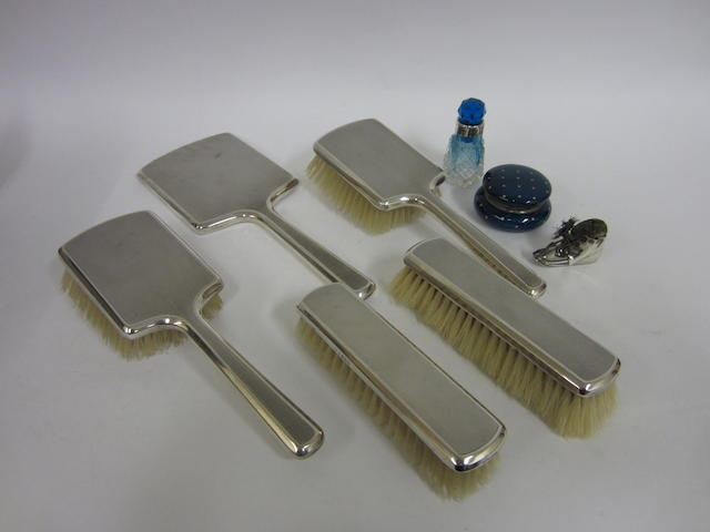A  enamelled box and silver pin cushion, scent bottle and brush/mirror set  (8)