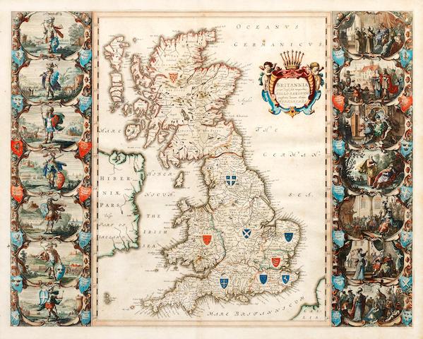 HEPTARCHY BLAEU (WILLEM) Britannia prout divisa fuit temporibus Anglo-Saxonum, presertim durante illorum Heptarchia [Amsterdam, 1645 or later]