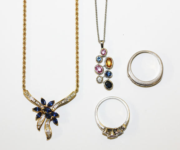 A collection of sapphire and diamond set jewellery (4)