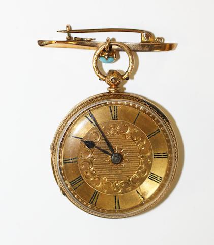 18ct gold open face fop watch