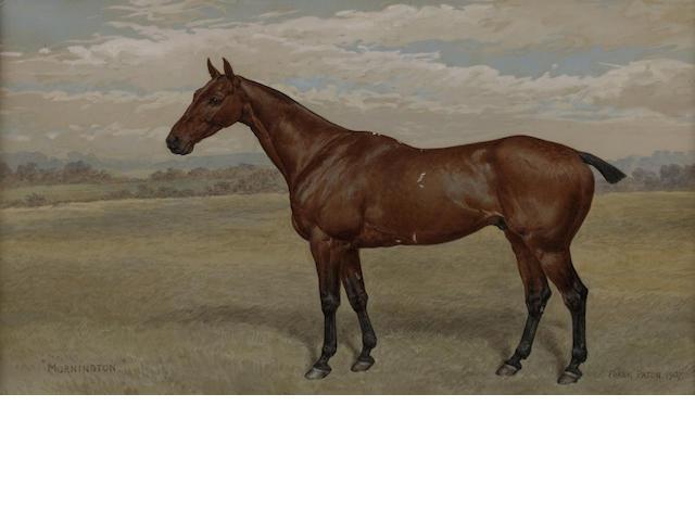 Frank Paton (British, 1856-1909) Mornington portrait of a hunter in a landscape,